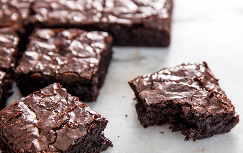 delicious brownies cut into squares